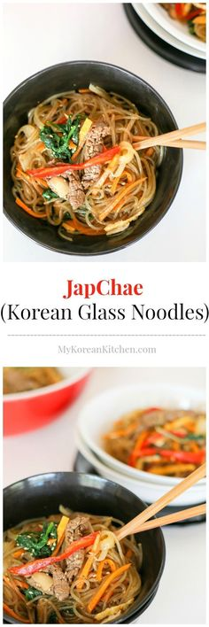 The best and the most comprehensive Korean Glass Noodle Stir Fry (Japchae) recipe! It's colour and flavourful. Impress your guests. Kids and adult friendly. | MyKoreanKitchen.com