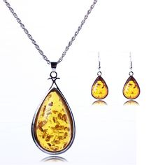 Drop Imitation Amber Fashion Long Sweater Chain Necklace Package