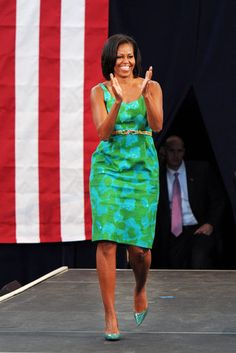 First Lady Michelle Obama speaks at Barbara Goleman Senior High School during a campaign event in Miami Lakes, Florida.