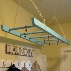 Unique Vintage Wooden Extension Ladder Re-purposed as a Laundry Hanger by InsideOutSalvage on Etsy https://www.etsy.com/listing/216196598/unique-vintage-wooden-extension-ladder