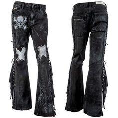 Custom Pants Black Denim With Fringe WSCP-114