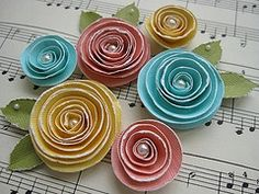 Rolled Paper Flower Magnet  (original source unknown)