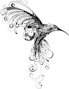 abstract Hummingbird tattoo...this mirrored on each side of my back would be awesome! itd look like wings but itd be the hummingbirds 'kissing'..and itd match my lower back tat already..hmmmm