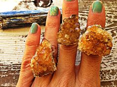 SUNSHINE / Raw Cirtine Druzy Crystal Cluster by ScarlettFireJewels, $32.00