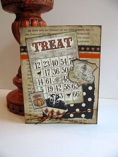 Handmade, OOAK Halloween card made from new and vintage materials. Send a special greeting this Halloween! Halloween Paper Crafts, Halloween Cards, Holidays Halloween, Halloween Fun, B 17, Halloween Scrapbook, Bingo Cards, Fall Cards, Card Making Inspiration