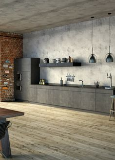 Concrete Ciré: Cheap worktop in concrete look- Beton Ciré: Günstige Arbeitspl. Industrial Kitchen Design, Modern Interior Design, Interior Design Living Room, Industrial Kitchens, Industrial Flooring, Küchen Design, House Design, Design Ideas, Concrete Interiors