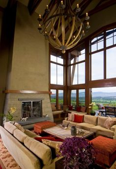 Interior, Divine High Vaulted Ceiling Living Room With Cool Wooden Beam Chandelier Large Glass Window Fireplace Coffee Table Cushion Sofa Carpet Potted Plant: High Ceiling Living Room with Dramatic Impressions