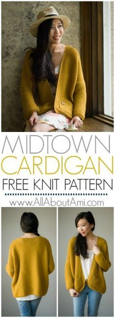 The Midtown Cardigan Knit Pattern: Knit this oversized, relaxed, and slouchy cardigan using the beautiful garter stitch! This classic wardrobe staple is a perfect project for beginners! Free pattern, tutorial and video available!