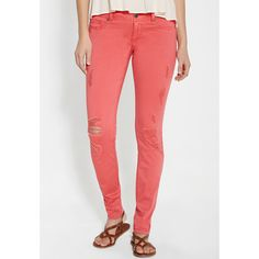 maurices Denim Flex™ Jegging With Destruction In Coral Pop ($39) ❤ liked on Polyvore featuring pants, leggings, coral pop, slimming jeggings, torn leggings, slim fit pants, denim jeggings and red leggings