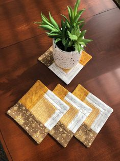 Items similar to French Country Quilted Log Cabin Coasters (set of Gold, Yellow, Beige, Tan & Cream on Etsy Quilted Coasters, Country Quilts, Coaster Set, French Country, Quilting, Cabin, Unique Jewelry, Handmade Gifts, Gold