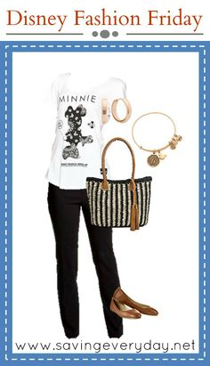 This week's Disney fashion look is stylish but casual with an ode to Minnie Mouse! I love the black and white with the rose gold jewelry!