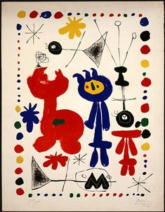Figuras e Pássaros. Litografia. 1948. Joan Miró (1893-1983). Encontra-se na Galeria Nacional de Arte, em Washington, D.C., USA.