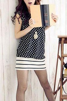 Preppy Contrast Stripes Panel Dots Printing Dress