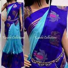 Cotton by silk weaving 70 %silk cotton Saree Dress, Saree Blouse, Casual Saree, Queen Bees, Saree Collection, Blouse Designs, Silk Sarees, Yards, Cloud