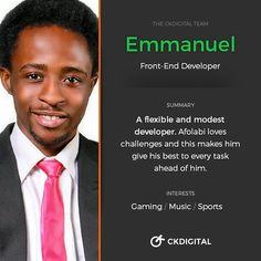 #FamilyFriday: Meet a member of the CKDigital team. This week the spotlight is on Emmanuel our beloved Front-end Developer.  #design #webdesign #webdesigner #ui #ux #branding #agency #lagos #nigeria #tech #business #team #ckdigitalteam #tgif #fridayfeeling #family by ckdigital