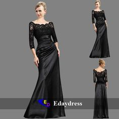 New Long Sleeve Black Formal Prom Gown Evening Ball Dress US 6-16