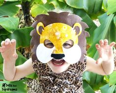 Lion Mask Tail Costume Pattern Easy Felt DIY Set for Children and Adults - Halloween SALE - WAS 8