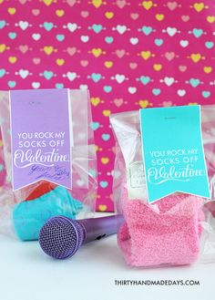"""""""You Rock My Socks Off Valentine"""" ~ Just get some cute socks, favor bags and print the socks printable... fun Idea!"""