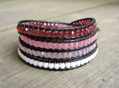 Beaded Leather Wrap Bracelet 4 Wrap with Ombre by BraceletsByBetz, $52.00