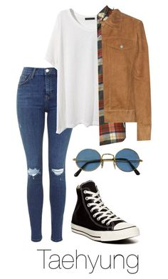 """RUN M/V: Taehyung"" by btsoutfits ❤ liked on Polyvore featuring Band of Outsiders, Wood Wood and Converse"
