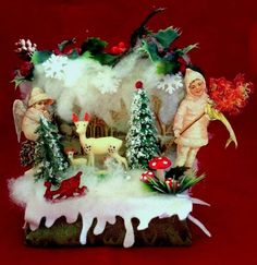 vintage Kitschy Christmas Ornament Diorama Shadow Box Handmade with 60's deer figurines by VintageShopCreations on Etsy