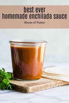 Best Ever Enchilada Sauce Recipe (Tex Mex Chili Gravy) Best EVER Enchilada Sauce Recipe. This quick and easy recipe comes together in about 10 minutes. It's bold and flavorful and will give your enchiladas an authentic taste! Authentic Enchilada Sauce, Best Enchilada Sauce, Recipes With Enchilada Sauce, Sauce Recipes, Cooking Recipes, Easy Recipes, Drink Recipes, Freezer Recipes, Gourmet