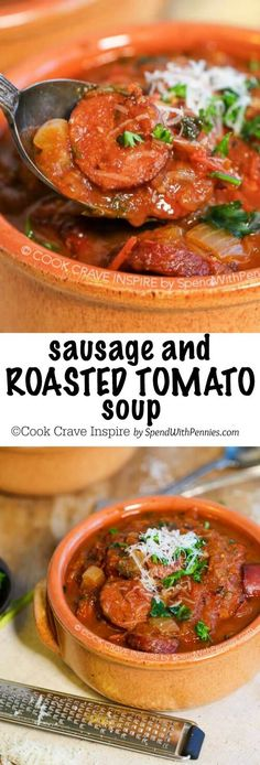 This easy Roasted Tomato Soup is one of our favorites! With sausage, red pepper, fresh basil and parmesan, this hearty soup has tons of flavor!