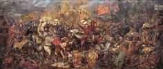 """""""Battle of Grunwald"""" a painting by Jan Matejko depicting the Battle of Grunwald and the victory of the allied Crown of the Kingdom of Poland and Grand Duchy of Lithuania over the Teutonic Order in Battle Of Tannenberg, Renaissance Era, Dark Ages, Military Art, Illustrators, Oil On Canvas, Concept Art, Illustration Art, Drawings"""
