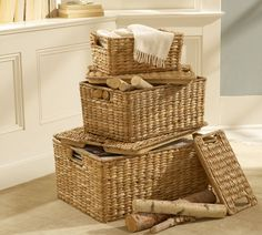 Stackable!  I use these in the dining room for hiding table linens
