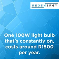 Interesting Fact: One light bult that's constantly on costs around per year. Renewable Energy, Solar Energy, Solar Power, Energy Crisis, Sustainable Energy, Save The Planet, Save Energy, Fun Facts, Saving Money