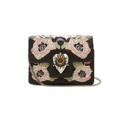 Alexander McQueen Heart mini poppy-embroidered leather shoulder bag (9,530 CNY) ❤ liked on Polyvore featuring bags, handbags, shoulder bags, black multi, shoulder bag purse, real leather purses, chain shoulder bag, embroidered purse and leather shoulder handbags