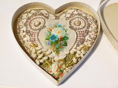 Antique 1876 Valentine Card Paper Lace & Shell Love Heart Shaped All Original Material Flowers, Silk Material, Dear Sister, Paper Lace, Flower Pictures, Fountain Pen, Little Babies, Love Heart, Baby Love