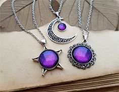 3 Sun Moon Star Necklaces, best friend jewelry, friendship necklaces, sisters gift, friends gift, mother daughters jewelry, Aurora Borealis