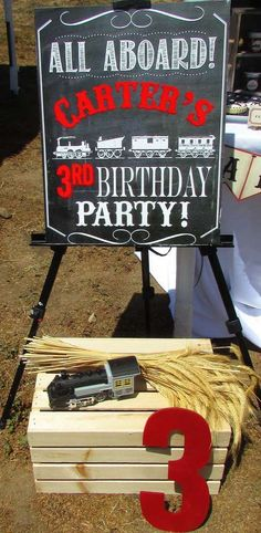 Fun decorations at a vintage train birthday party! See more party ideas at CatchMyParty.com!