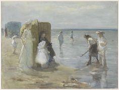 Gezicht langs de vloedlijn aan het Scheveningse strand, met twee dames en kinderen, Johan Antonie de Jonge, 1874 - 1927