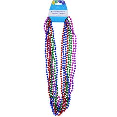 """31"""" Colorful Metallic Beaded Party Necklaces, $1.- 8-ct. Packs"""