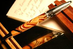 Wood pen menagerie of abstract woods and crystals by HopeAndGracePens