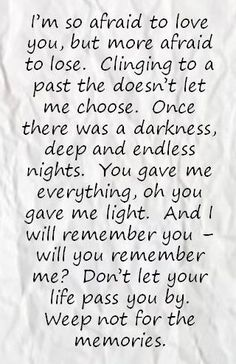 """Sarah McLachlan - """"I Will Remember You"""" lyrics. Clinging to a past that doesn't let me choose..."""