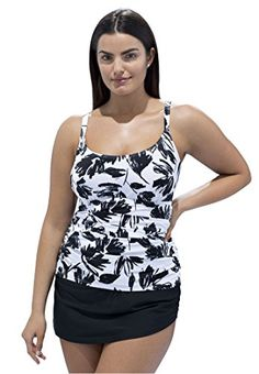 139a0ab35e Womens Plus Size Camisole Style Swim Top White Black Floral20   Details can  be found by