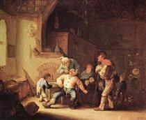 Adriaen van Ostade (Dutch, 1610-1685), 'Barber Extracting of Tooth', 1673