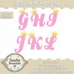 Princess Alphabet g-l, Alfabeto, Princesas g-l, Fonte, Font, Letras, Letters…
