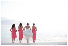 Coral pink bridesmaids dresses for cayman islands wedding