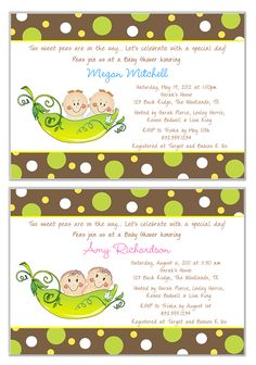 Two Peas in a Pod Twins Baby Shower Invitations Personalized Boy Girl-baby,shower,pea,pod,two,peas,twins,  boy,girl,boys,girls,personalized,party,  invitations,two peas in a pod baby shower invitations
