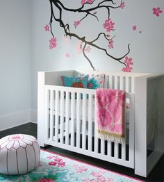 baby girls room. love the cherry blossoms.