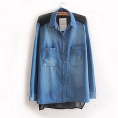 New Chiffon Montage Turn Down Collar Denim Blouses