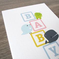 Cute Baby Card - Baby Block Bird Whale Green pal Celebration. Eco Friendly