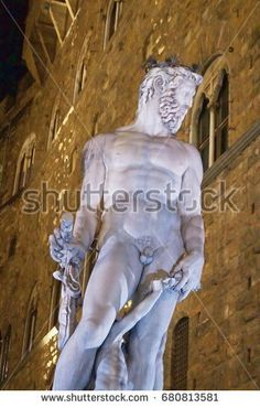 Biancone fountain at night, Piazza Signoria, Florence, Italy