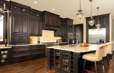 Dark Wood Kitchen Cabinets With Dark Wood Floors