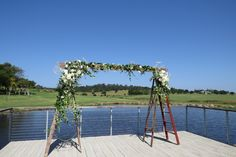 Rustic ladders make ideal frames for a ceremony back drop ladders wedding breath Wedding Country, Rustic Wedding, Ceremony Backdrop, Wedding Ceremony, Diy Arbour, South Coast Nsw, Rustic Ladder, Baby's Breath, Ladders