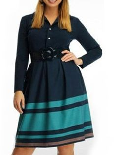 Buy Excellent Small Lapel Assorted Colors Striped Plus-size-midi-dress online with cheap prices and discover fashion Plus Size Midi & Maxi Dresses at Fashionmia.com.